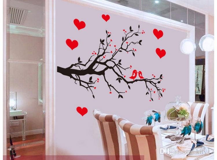 Tree Branch Birds Love Wall Sticker Tree Vinyl Wall Decal Stickers Home Decoration Wall Art