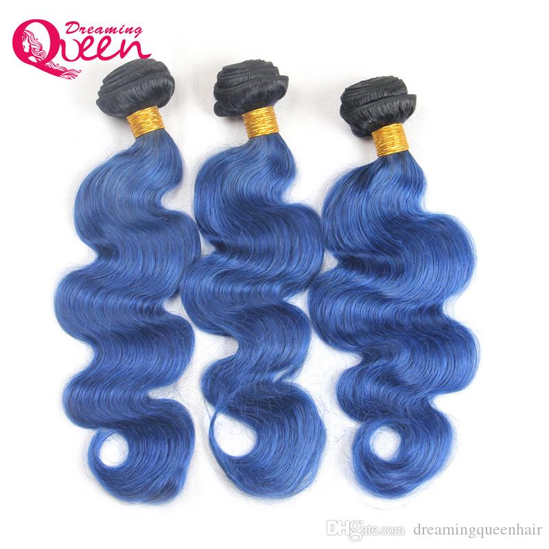 T1B Océan Bleu Couleur Ombre Brésilienne Vague de Corps Extension de Cheveux Humains Ombre Brésilienne Vierge de Cheveux Humains 3 Bundles Extensions de Tissage