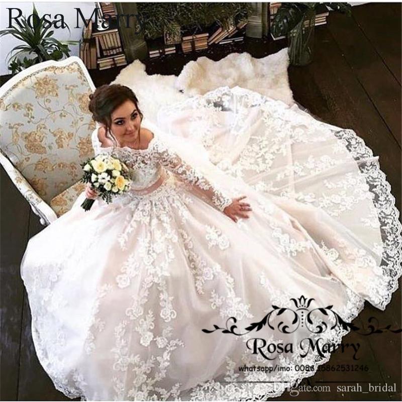 Islamico off spalla abiti da sposa in pizzo maniche lunghe 2019 nuova linea plus size arabo design vittoriano abito da sposa vestido de novia