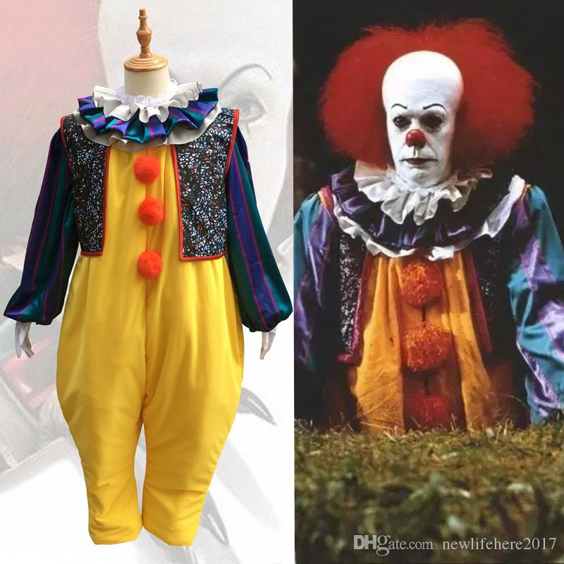 Movie Stephen King S It Cosplay Costume Horror Pennywise Joker Suit Custom  Made Carnival Halloween Haunted House Party Costume 5 Person Halloween  Costumes ... c093538b1d9