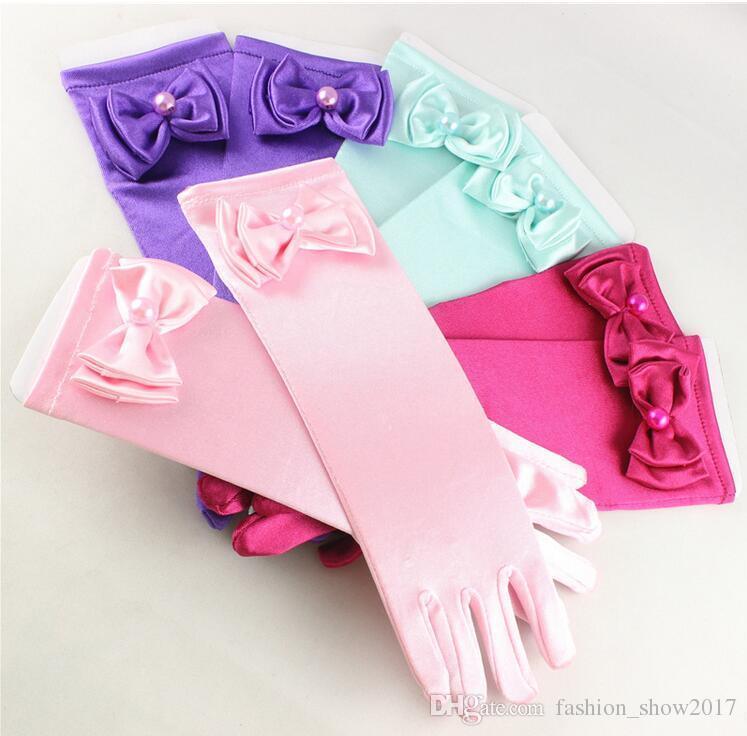 Princess Girls Gloves قفازات حريرية طويلة قفازات للأطفال
