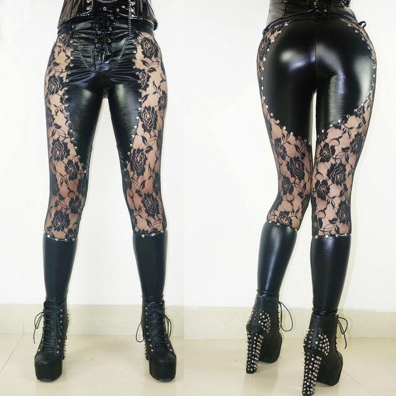 0e692ede8d2cb9 Exclusive Faux Leather Pants Women's Leggings Black Floral Lace See Through Leggings  Gothic Punk Dancing Clothes S-XL