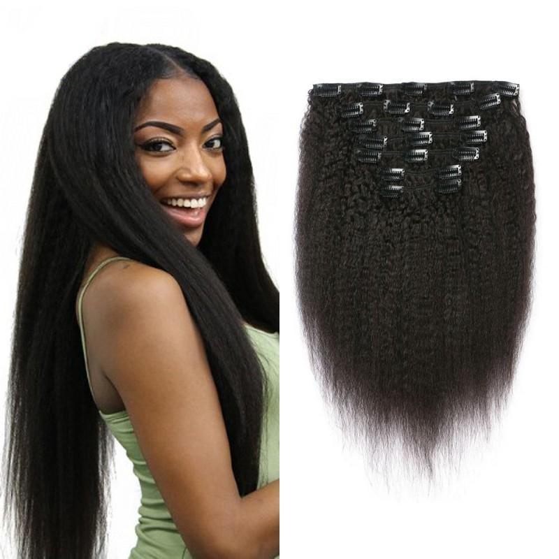 Eurasian Remy Human Hair Clip Ins 120g Kinky Straight Clip In Hair