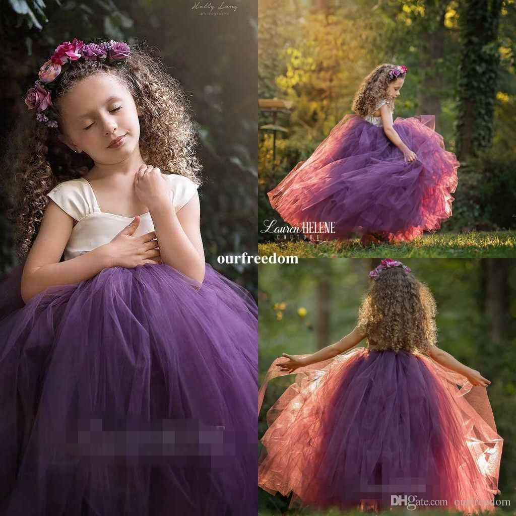 Милые Платья для Девочек-Цветочниц из Тюля 2019 Бато-Шея Пышное Бальное платье Принцесса для девочек Pageant Платья для девочек Туту Свадебные платья