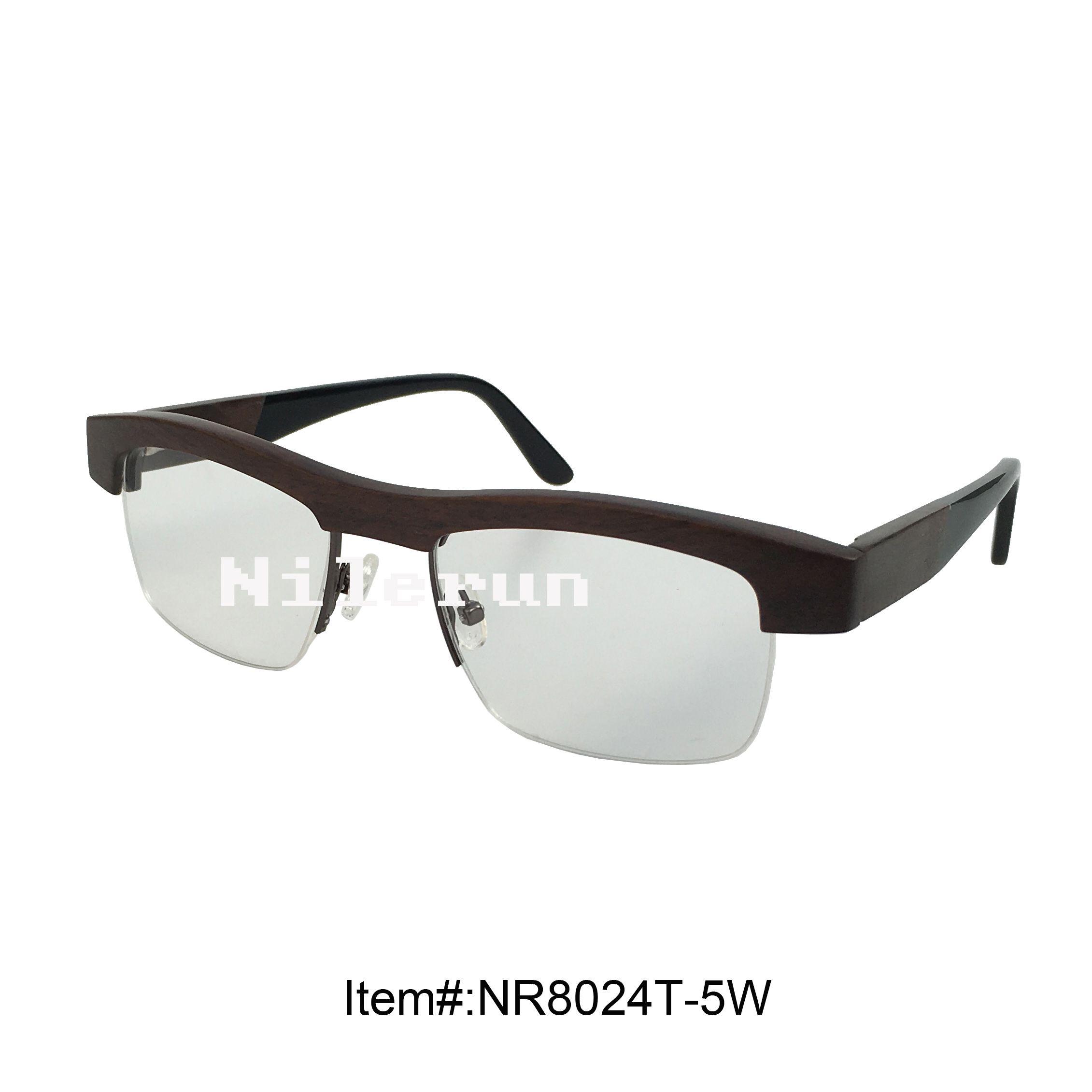 High Quality Half Frame Ebony Wood Optical Glasses Try On Eyeglass ...