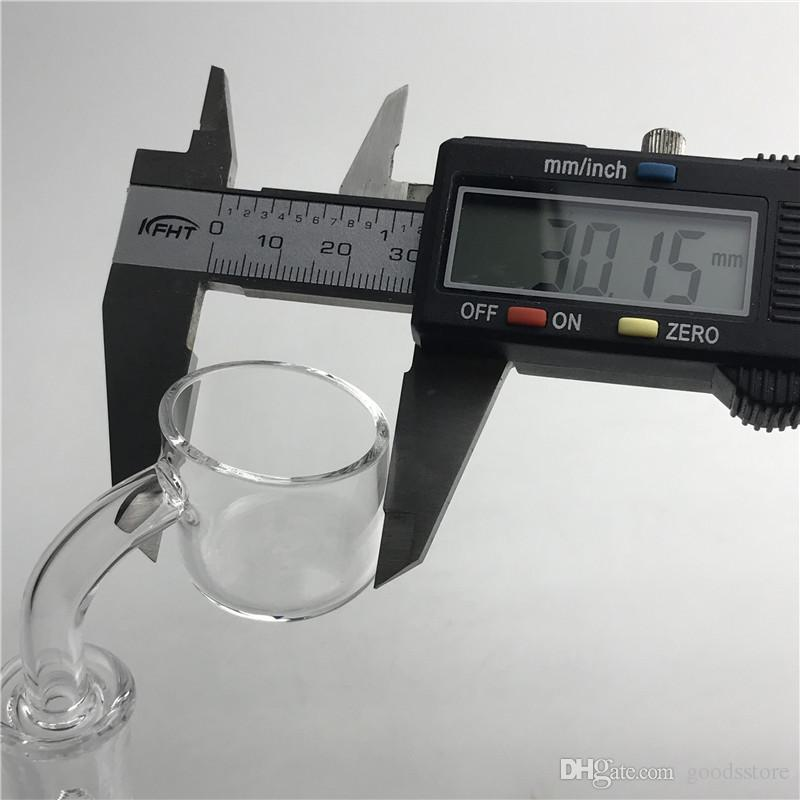 30mm XXL Quartz Banger Domeless Nail with 2mm Thick Wall 10mm 14mm 18mm Male Female Biggest Quartz Honey Bucket for Bong