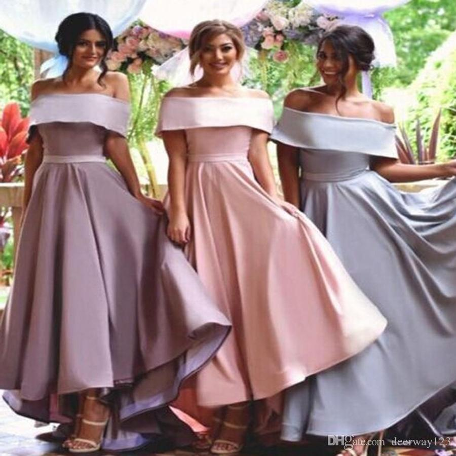 0e5eb674a6 Special Wide Sleeves Off Shoulder Lapel Hi Low Pink Bridesmaid Dress Ruched  With Sash Customized Made Sexy Party Dresses Light Green Bridesmaid Dresses  ...