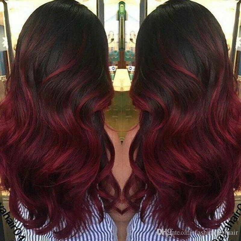 Fashion Women Wigs Black Burgundy Ombre Body Wave Synthetic Lace