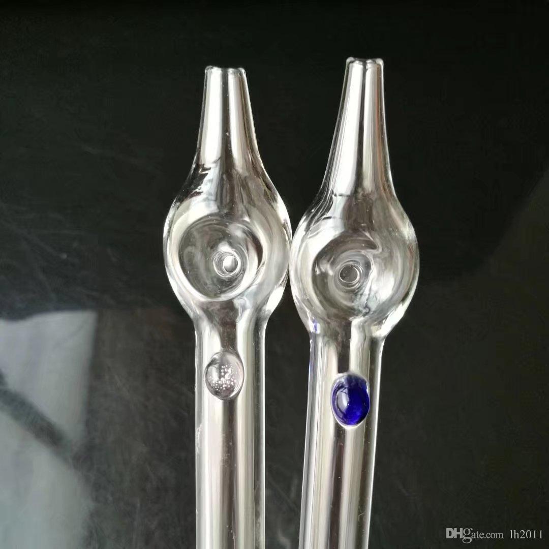 Tubo de vidrio alargado en punta Bongs de vidrio al por mayor Quemador de aceite Tubos de vidrio Tubos de agua Plataformas petroleras Fumar libre