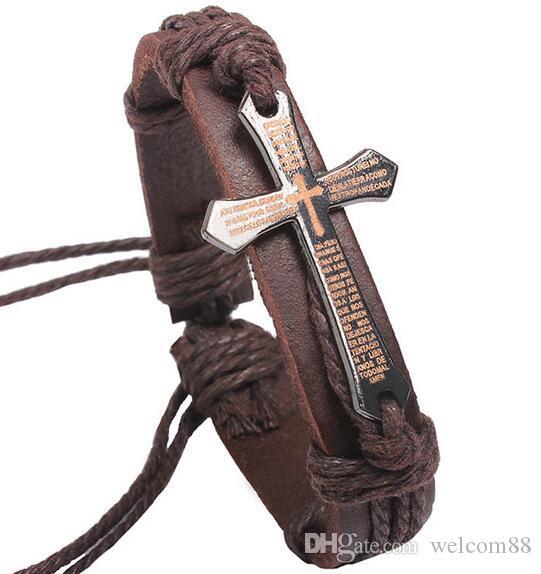 10 sztuk / partia Mix Colors Bible Cross Real Skórzane Bransoletki Bransoletki Do Craft Biżuteria Prezent LW8