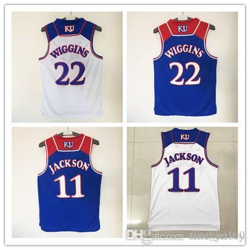 2898a1bca028 ... Stitched NCAA Jersey 2017 Kansas Jayhawks College 22 Andrew Wiggins  Basketball Jersey Shirt Blue White New Material Men 11 ...