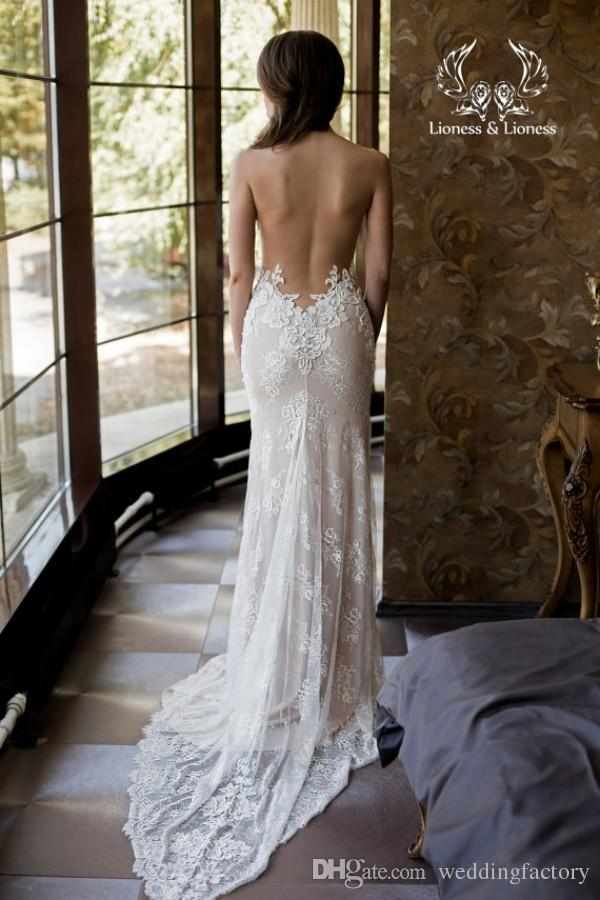 Sexy Backless Detachable Wedding Dress Sheer Tulle Pearls Lace Appliques Mermaid Bridal Gowns Detachable Tulle Train LS 31-1