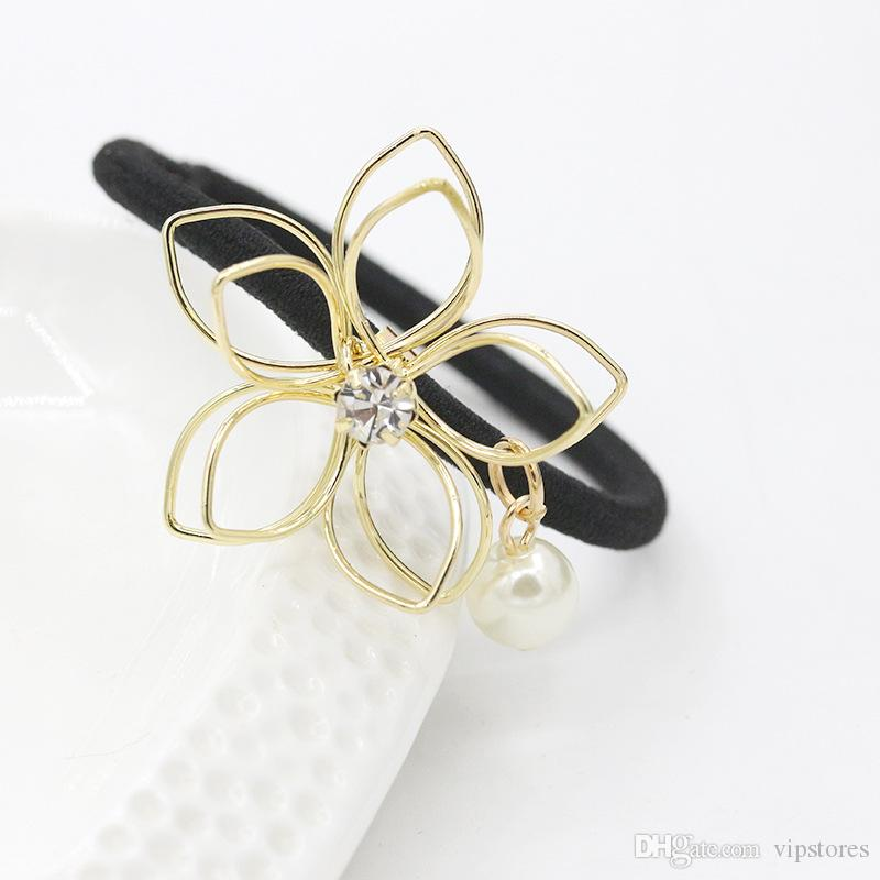 Crystal pearl flower hair rubber bands accessories gold silver plated flower leaf hair ring headband for women hair jewelry wholesale