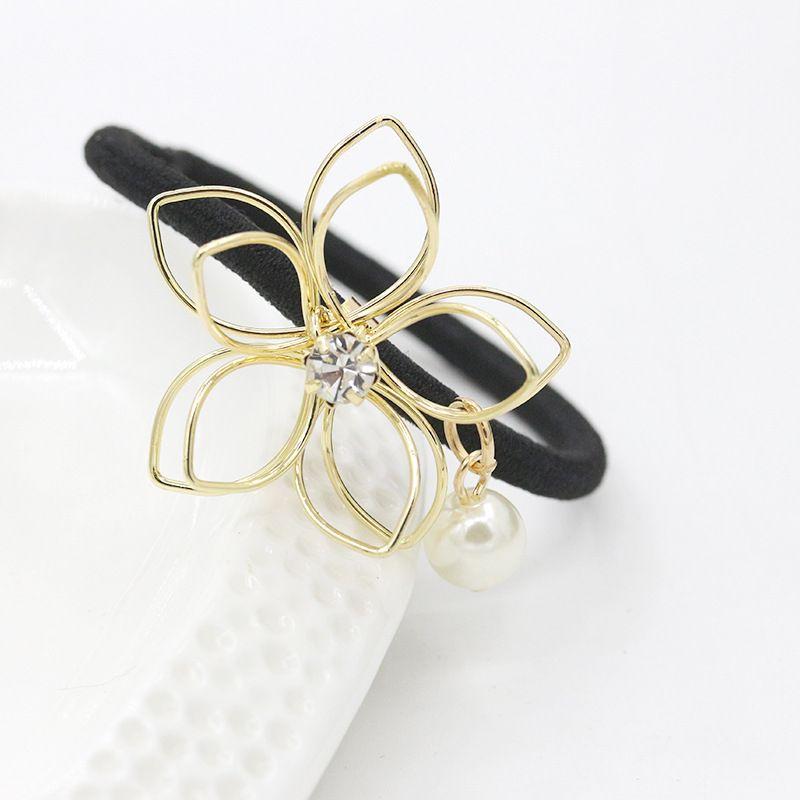 Kristal inci çiçek saç lastik bantlar aksesuarları altın gümüş kaplama kadınlar için çiçek yaprak saç halka bandı saç takı toptan