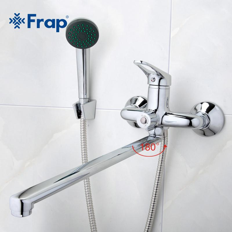 2018 Frap Bathroom Mixer 40cm Stainless Steel Long Nose Outlet Brass ...