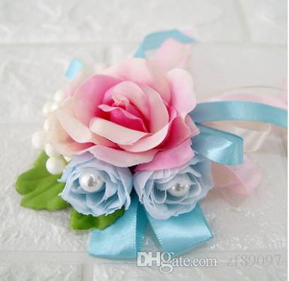 2019 Pink Blue Groom Boutonniere Corsage Flower Brooch Wrist Corsage