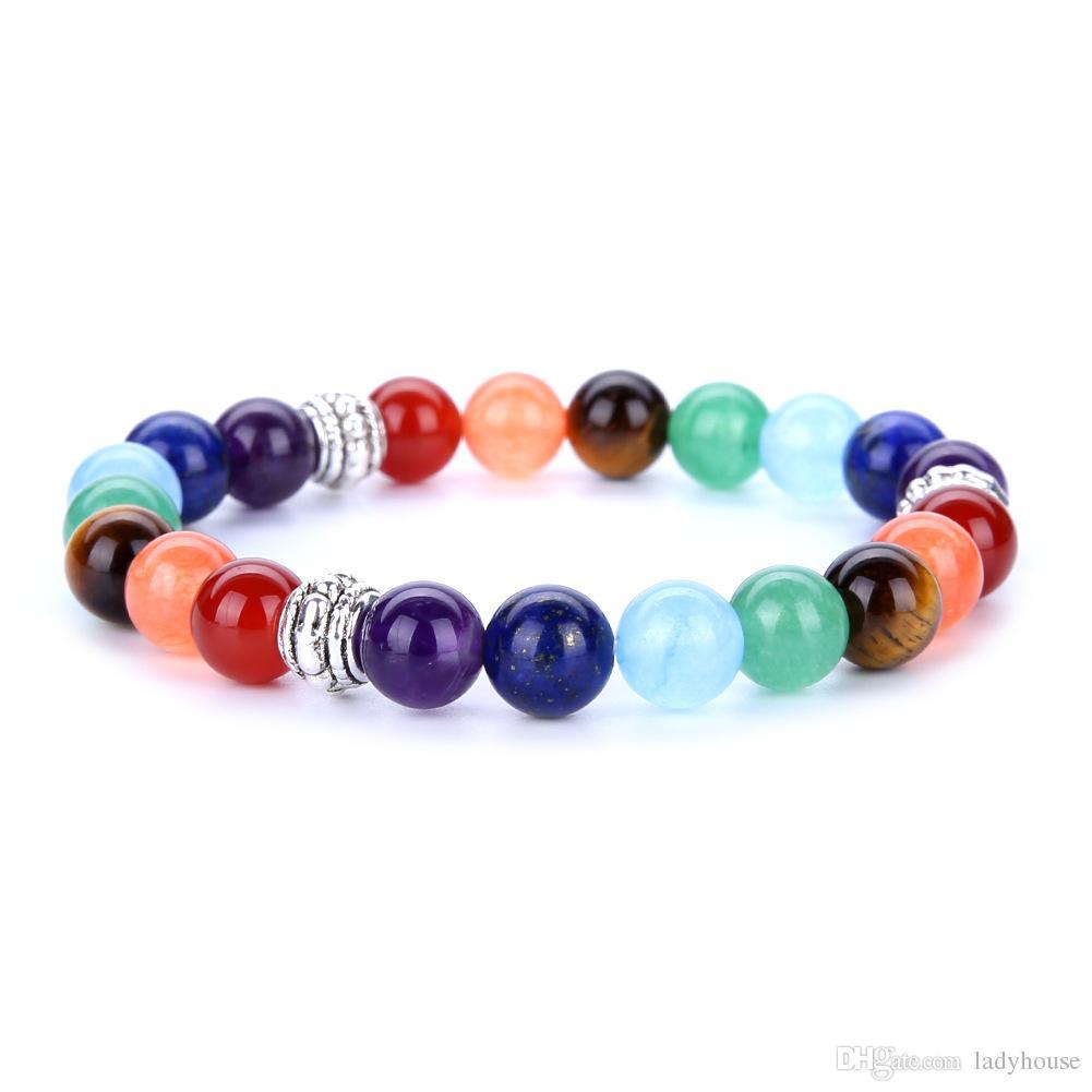 Wholesale 7 Chakra Colorful Bead Bracelet Volcanic Stone Lava Rock Handmade Agate Amethyst Beaded Hand String
