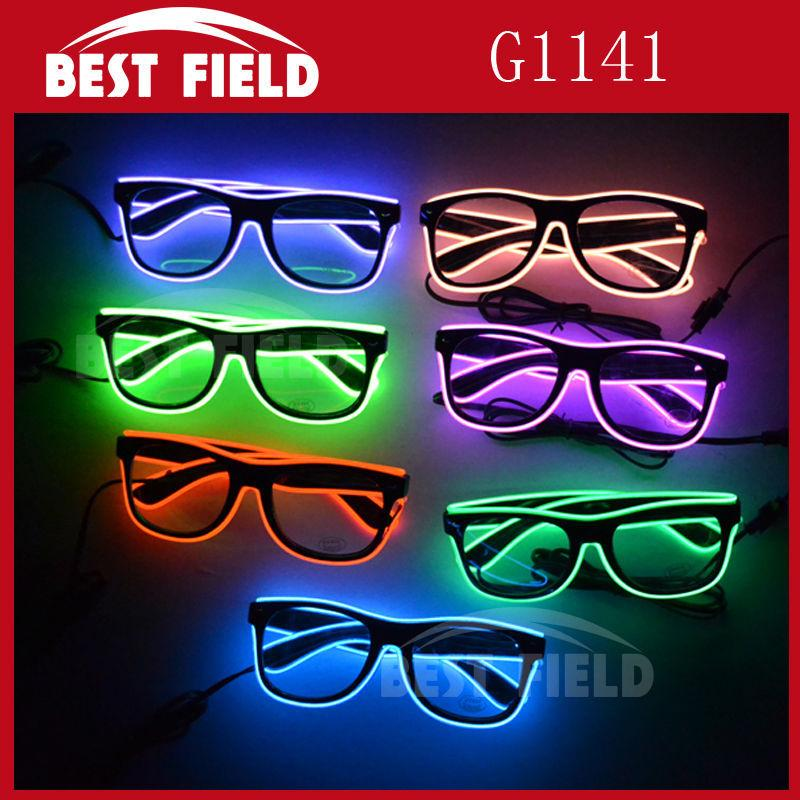 72ef28a86309 Wholesale El Wire Glow Sun Glasses Led DJ Bright Light Safety Light Up  Multicolor Frame Voice Control Led Flashing Glasses Party Favor Boxes Cheap  Party ...