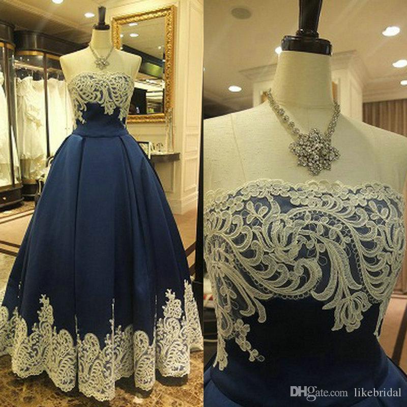 2019 Marineblau Abendkleid Ballkleid Weiße Spitze Vestidos de Festa Satin Bodenlangen Abendkleider Plus Size