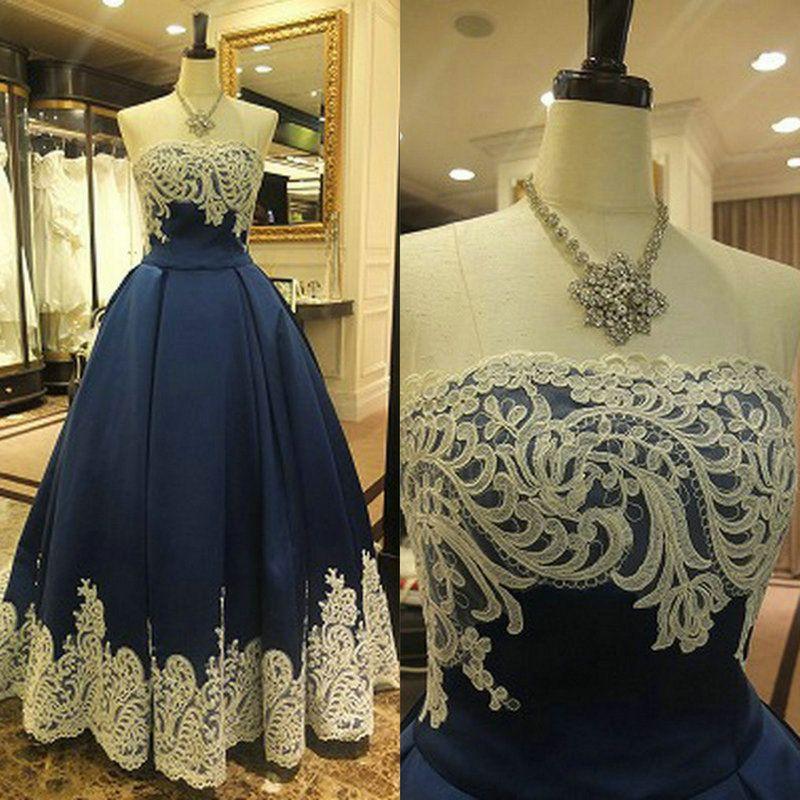 2019 темно-синее вечернее платье бальное платье белое кружево Vestidos de Festa атласная длиной до пола, вечерние платья плюс размер