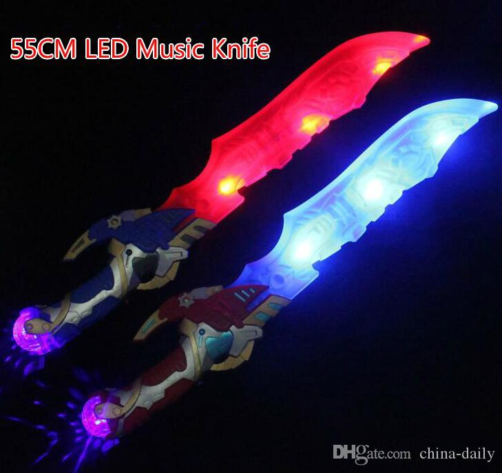 Free EMS 55cm LED Musical Flash Glow Sword Knife Costume Dress Up Props LED Light Flash Gravity Kids Toy Christmas Gift
