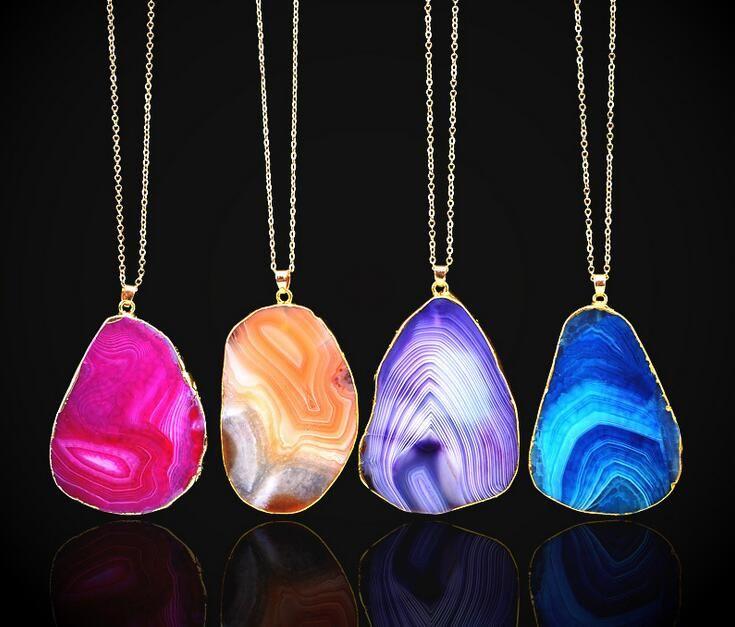 Heißer Verkauf Quarz Kristall Anhänger Halsketten Jewlery Frauen Natürliche Edelstein Halskette Fit Gold Überzogene Ketten Halskette Schmuck 10 stücke