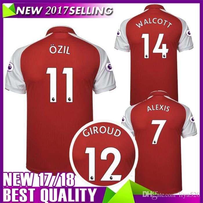 Wholesale Custom Name Number Thai Quality Soccer Jersey Tops 17-18 Home Red  7 Alexis 10 Lacazette Football Wear 65969ae63