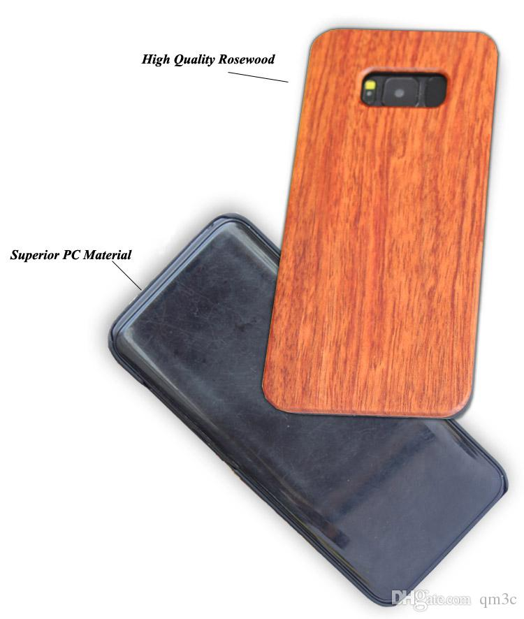 2017 Nature Wood Case For Samsung Galaxy S8 S8 plus Laser Engraving Wooden Bamboo Phone Cover PC Hard Back Cases For Samsung S5 S6 S7 edge