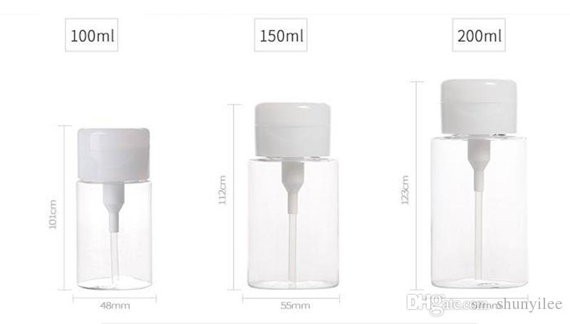 100/150/200ML Plastic Press Pump Clear Bottle Nail Polish Gel Remover Clean Liquid Water Storage Container Bottles F20172009