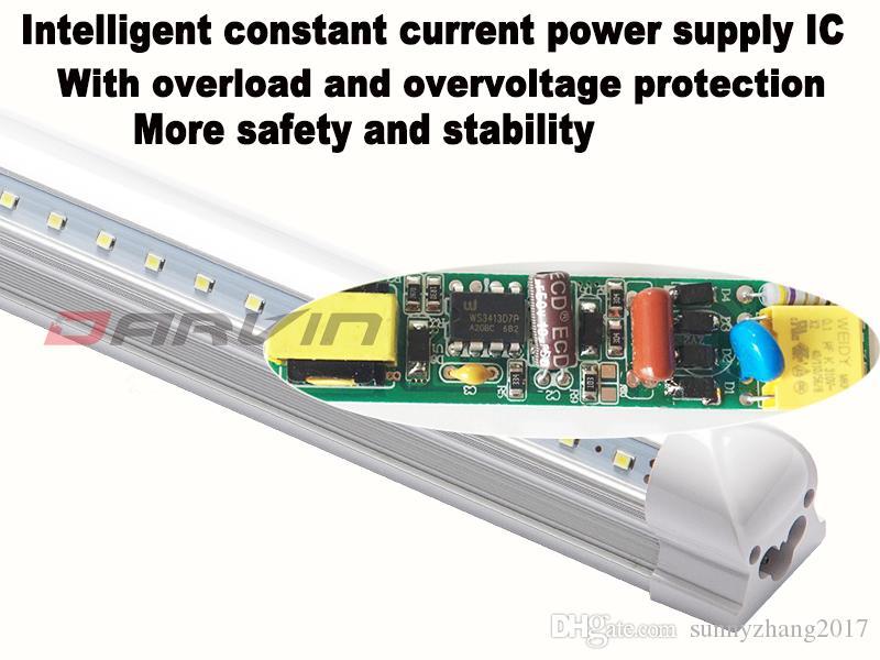 T8 Led 빛 8피트 2,400mm 50W 6피트 1,800mm 36W 통합 V-그늘 LED가 튜브 라이트 270도 빔 각도 슈퍼 밝은 220V 110V, 무료 배송