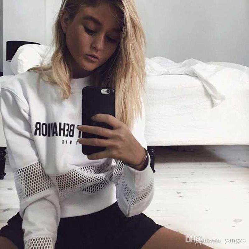 2017 Nero Bianco Sexy Signore Maglia Camicetta Chic peggiore comportamento Lettere Stampa Camicie Manica Lunga Moda Allentato Donna Top CK11113