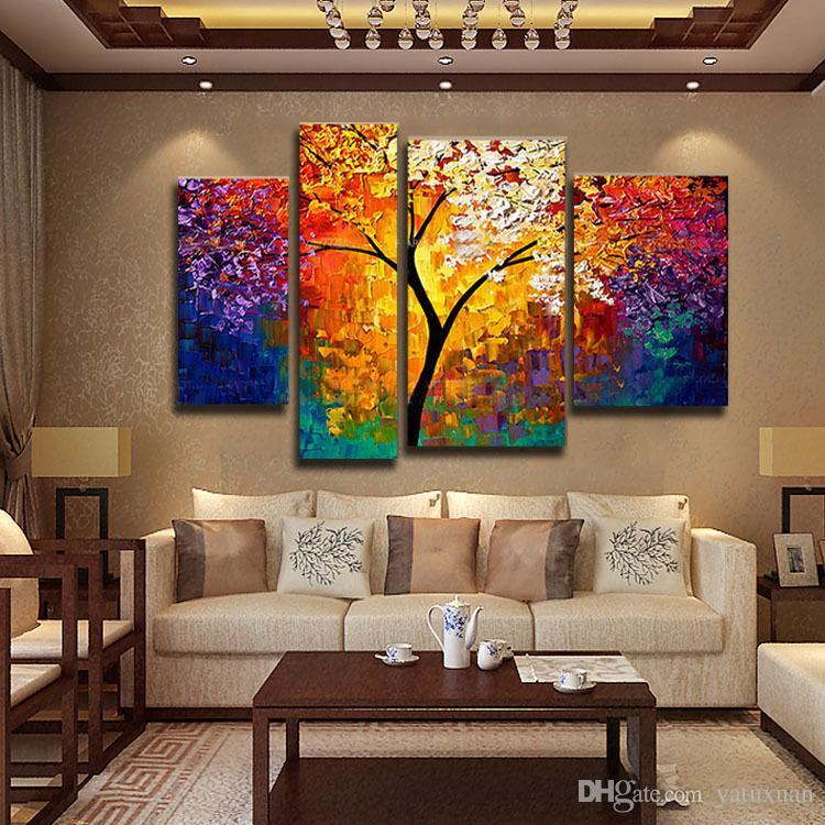 Bright Life Tree Imagem Pintura Artesanal Moderna Abstrata Pintura A Óleo sobre Tela Wall Art Home Decoração Presente Sem Moldura
