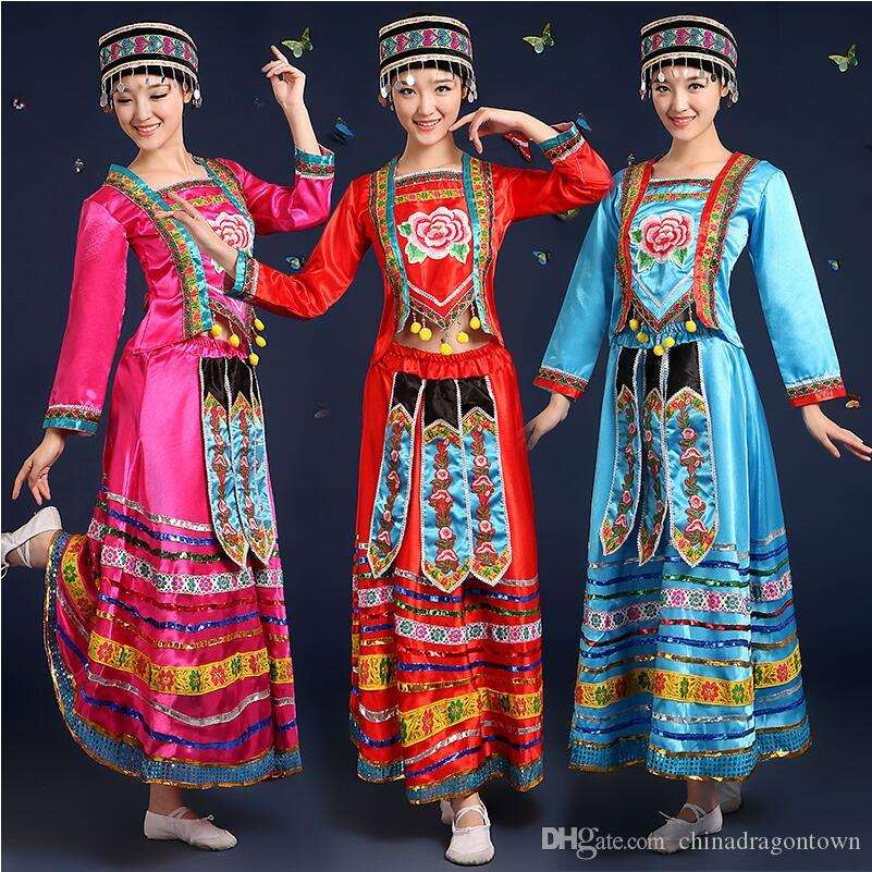 2018 new arrival chinese folk dance costumes chinese miao national traditional performance dress stage costumes for singers ethnic clothing from
