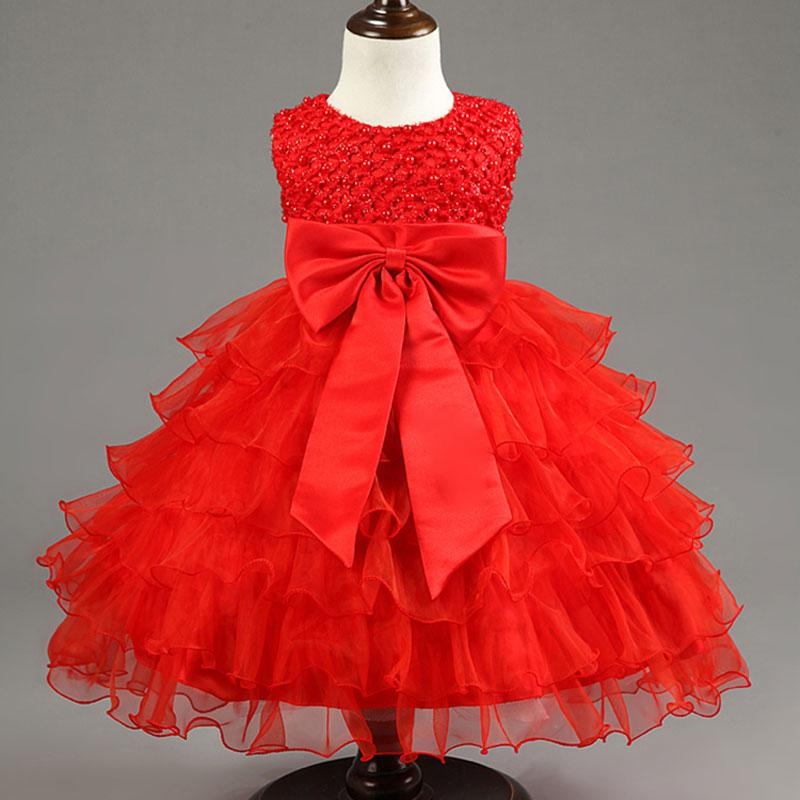 2019 Wholesale Newborn Infant Girls Wedding Dresses Baby Girl First Birthday  Dress For Baby Kids Party Wear Girls New Year Red Dresses Vestido From  Laurul ca04859cca55