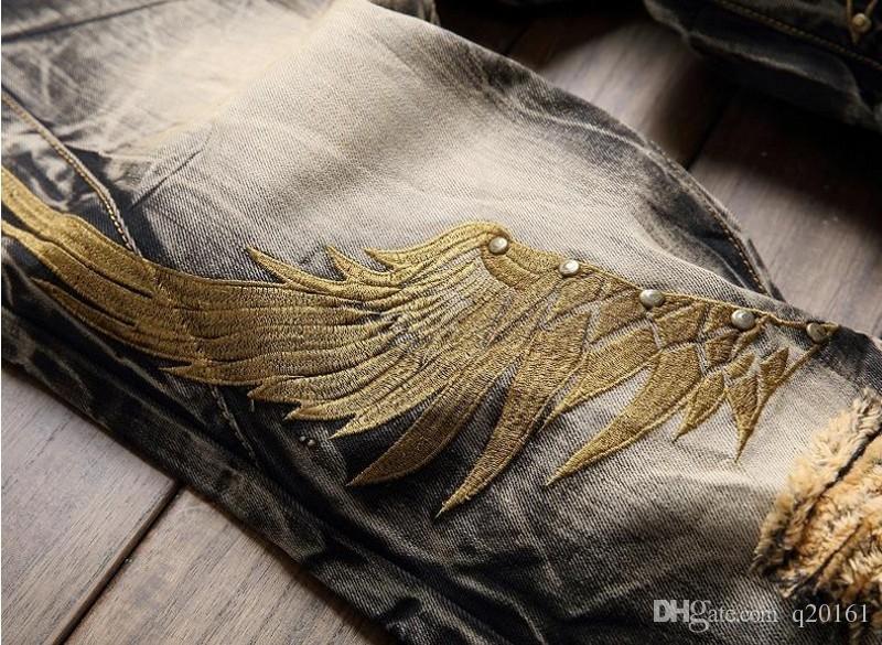 Vintage adam marka Kot 2017 Nouveau Modu Lancinate Pantalon Işlemeli Altın Kanatları Tanrı Korkusu Siyah Yırtık Kot Büyük boy 28-42