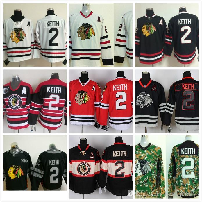 NHL Chicago Blackhawks  2 Duncan Keith Home White Red Green Black ... 8f1eb9fc28d