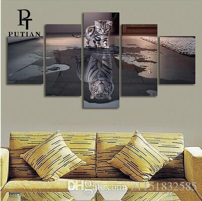 2017 gatti e tigri creativo pannello di arte della parete pittura a olio su tela stampata pittura immagini decor pittura ampio soggiorno