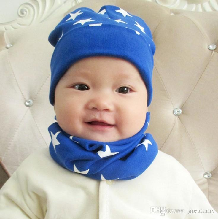 baby hat + Scarf Winter Autumn Infant Boy Girl Beanie Cap Cotton star Children toddlers hats for 0-3 years baby
