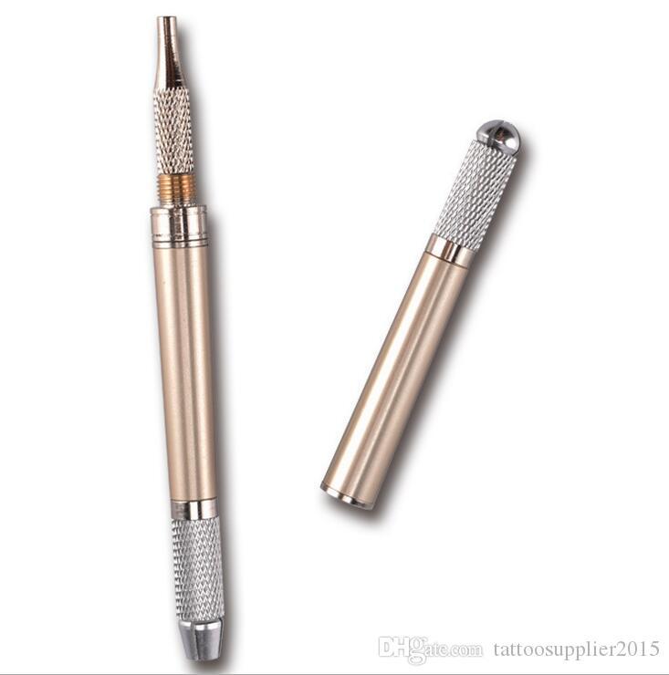 10 stücke Permanent Makeup Pen Augenbraue Kosmetik Microblade Tattoo Pen Manuelle Lip NeedleTool Supply 3 kopf kann verwendet werden