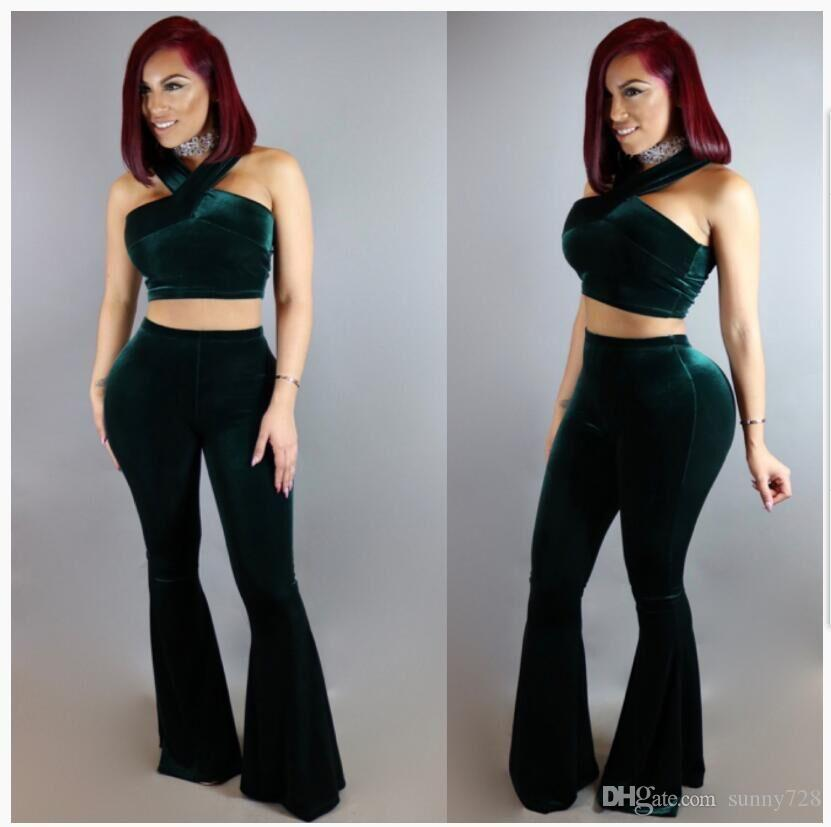 New Dark Green Velvet Women Top and Pants Suits Two Pieces Halter Neck Sleeveless High Waist Lady Clothing Sets