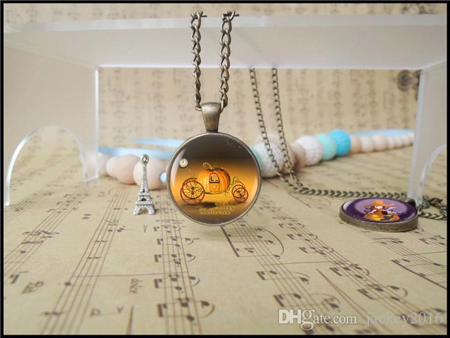 Happy Halloween Day Fury Anger Pumipkin Pendant Necklace Trick or Treat Jack O Lantern Charm Hallowas Gift for Boy Girl T1105