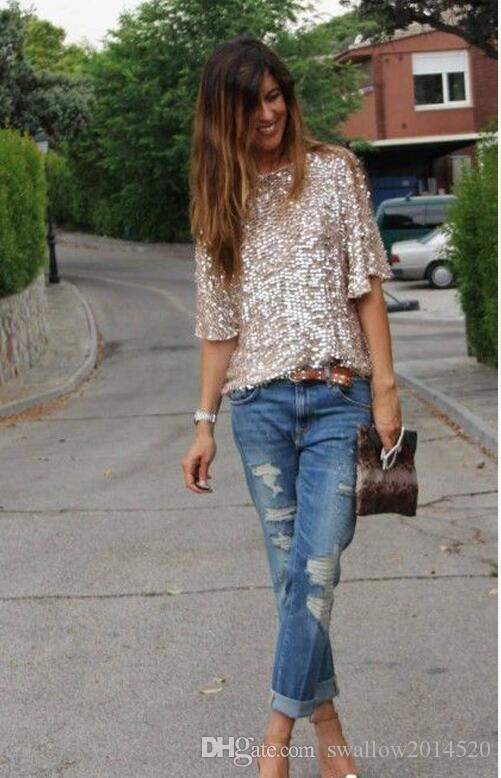 Wholesale-2017 New Fashion Women Ladies Sexy Off Shoulder Sequin Top T Shirts Party Streetwear Autumn Casual Loose Tees camiseta mujer