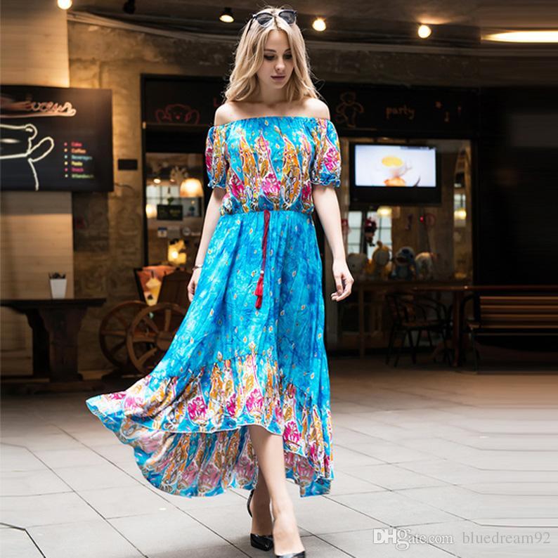 e86e563e419 Satın Al Elbiseler Yeni Bohemian Baskılı Artı Boyutu Boho Casual Elbiseler  Şort Kollu Yaz Uzun Elbise Kadınlar Için Artı Boyutu Giyim Maxi Elbiseler