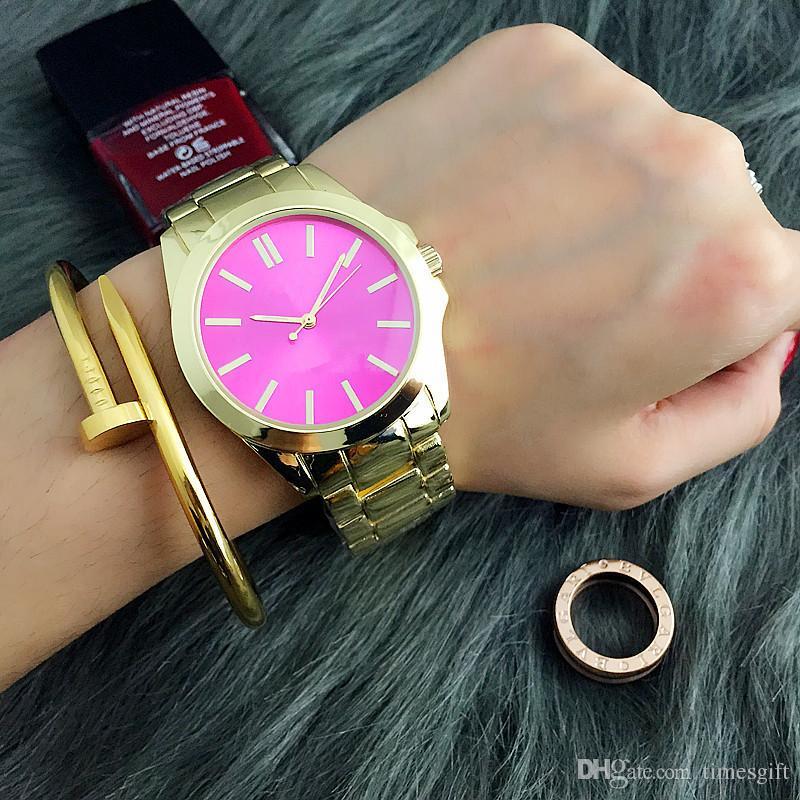 Moda de luxo Mulheres Relógio de Aço Inoxidável Senhora de Luxo Big Pink Dial Relógio De Pulso Famosa Alta Qualidade Mulheres Vestido Hora Frete Grátis