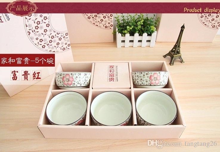 Tyx05 5 Japanese Stlye Bowl Chopsticks Box Set Floral Ceramic Tableware Creative Household Boxed Rice Bowl Funky Dinnerware Sets Glass Dinnerware Sets From ... & Tyx05 5 Japanese Stlye Bowl Chopsticks Box Set Floral Ceramic ...