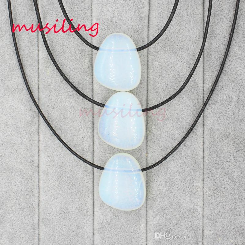 Kolye Kolye Sarkaç Kolye Zinciri Kadınlar için Geometrik Doğal Taş Opal Charms Sarkaç Moda Takı