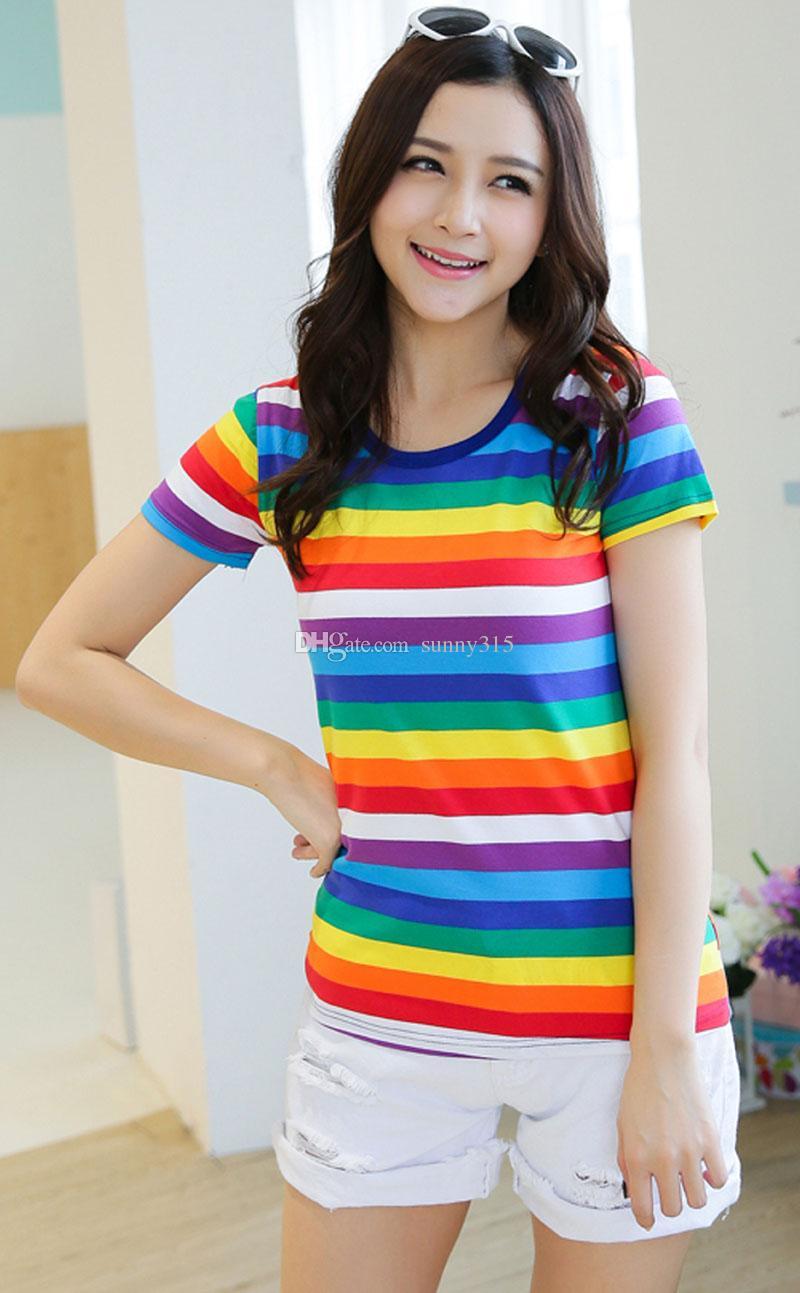 Nova Moda Feminina Senhoras Meninas Meninos T-Shirts de Manga Curta Tops Plus Size Algodão Elástico Rainbow Listrado Camiseta Top tamanho M-XXL