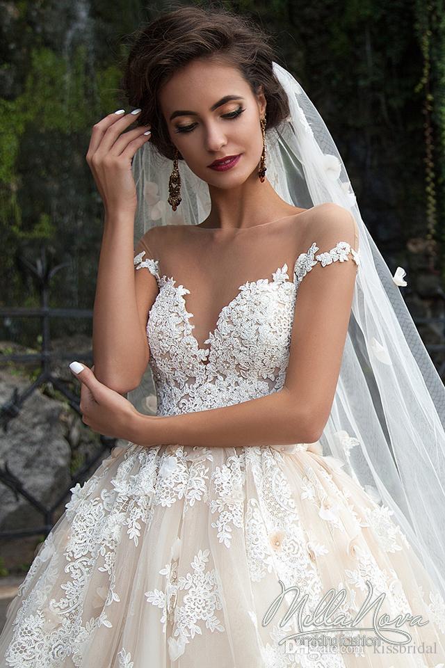 Großhandel Erstaunliche 2016 Brautkleider Sheer Rundhalsausschnitt ...