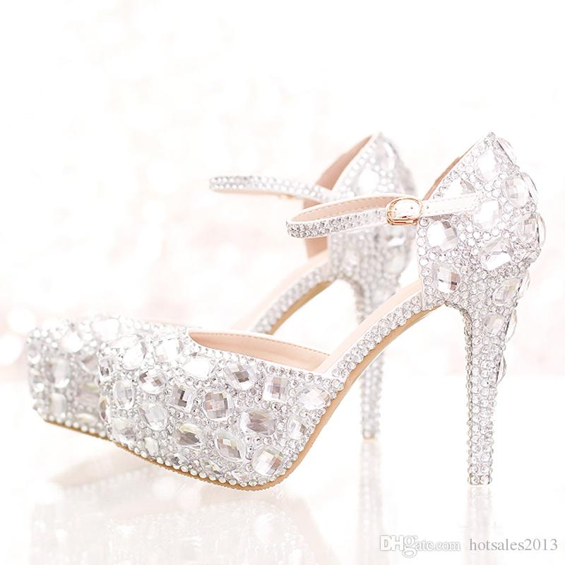 e43b06b101bd Silver Rhinestone Bridal Wedding Dress Shoes Ankle Straps Round Toe Bride  Shoes Platform Formal Dress Shoes Prom Party Pumps Used Bridal Shoes  Vintage ...