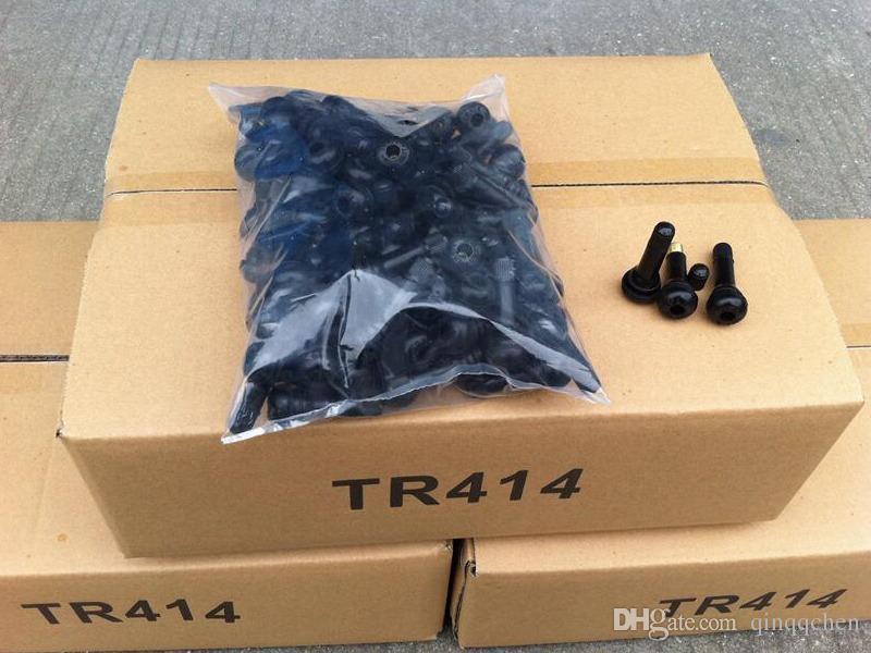 Válvulas de goma TR414 con el negro de los casquillos para el neumático de la rueda a presión de la rueda de la bici del coche